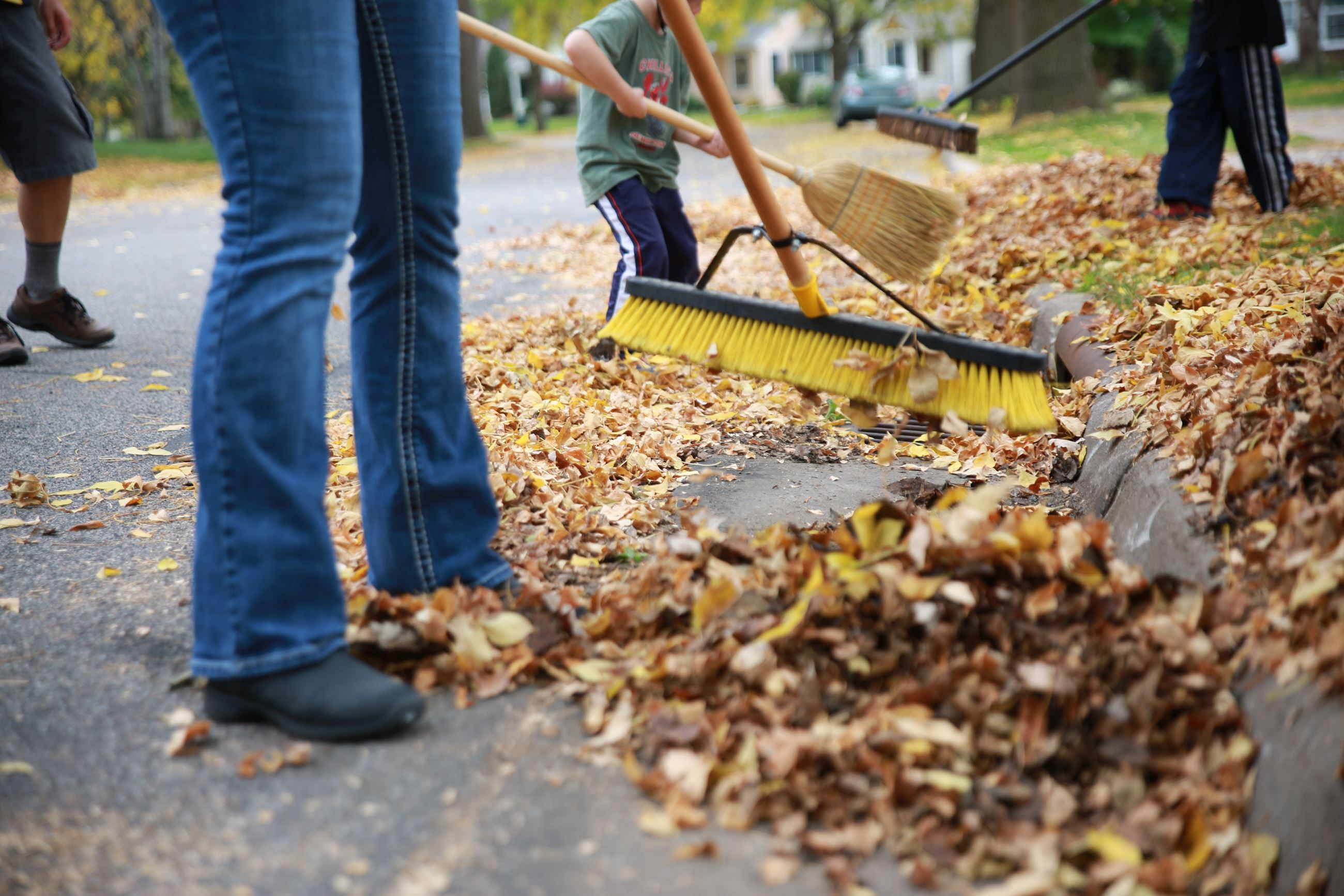 Lawn Care - Sweeping leaves from gutters